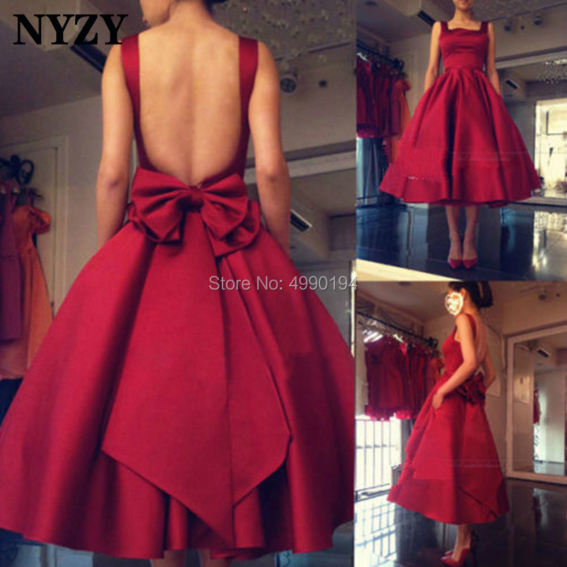 NYZY C144 Vintage Big Bow Backless Ball Gown Robe Soiree Dubai Burgundy Satin   Cocktail     Dresses   abendkleider kurz 2019