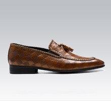 QYFCIOUFU 2019 Pointed Toe Men Oxford Shoe Genuine Cow Leather Slip On Formal Shoes Black Khaki Fashion Tassel Mens Dress Shoes