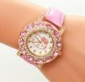 Cartoon Watch Hello Kitty Girls Child Watches Fashion Mujer Leather Strap Relojes Quartz Women Crystal female wristwatch
