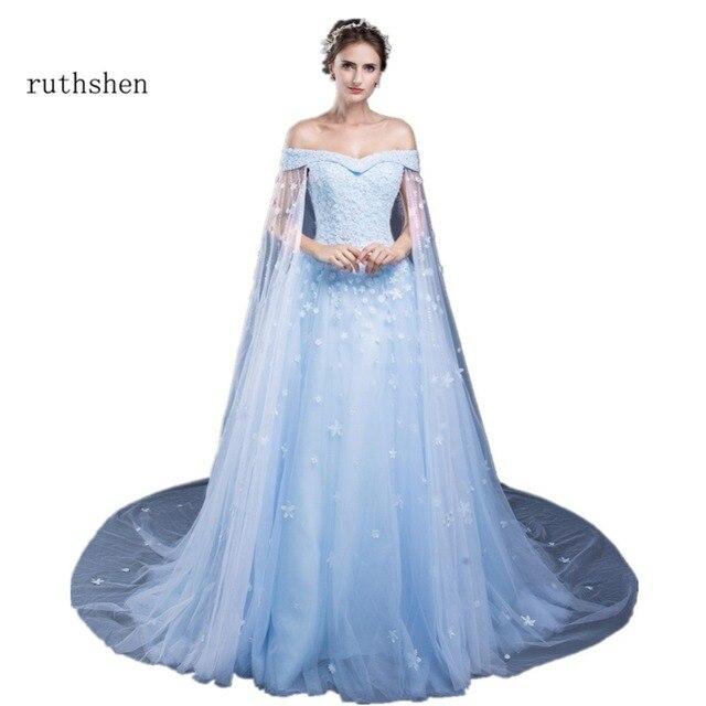 c6ac244bb8 ruthshen Long Off Shoulder Evening Dresses Lace Appliques Beaded Watteau  Light Blue Tulle Cheap Formal Dresses Vestido De Festa
