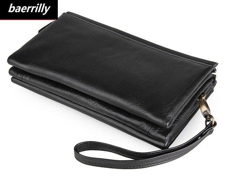 цена на New Design Genuine Cowhide Leather Portomonee Vintage Walet Male Wallet Men Long Clutch with Coin Purse Pocket Rfid Black