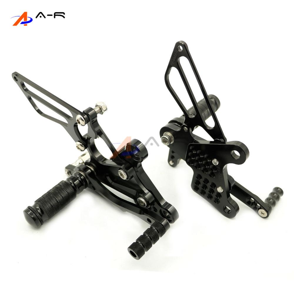 Black Racing CNC Billet Adjustable Rearsets Footrest Foot Pegs Rear Sets for Kawasaki ZX-6R ZX6R 2009-2014 2013 2012 2011 2010 meziere wp101b sbc billet elec w p