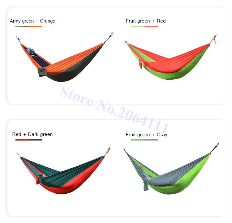 Outdoor double Hammock Portable Parachute Cloth 2 Person hamaca hamak rede Garden hanging chair sleeping travel swing hamac 9