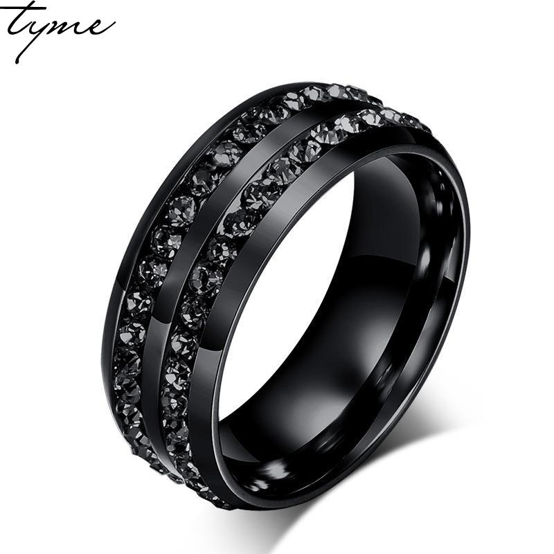 8MM Titanium steel Black 2 crystal Ring for woman man Ring jewelry Black color Ring Wholesale Korea Mens Ring gift