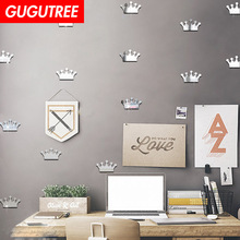 Decorate 18pcs 3D crown art wall mirror sticker decoration Decals mural painting Removable Decor Wallpaper LF-1897