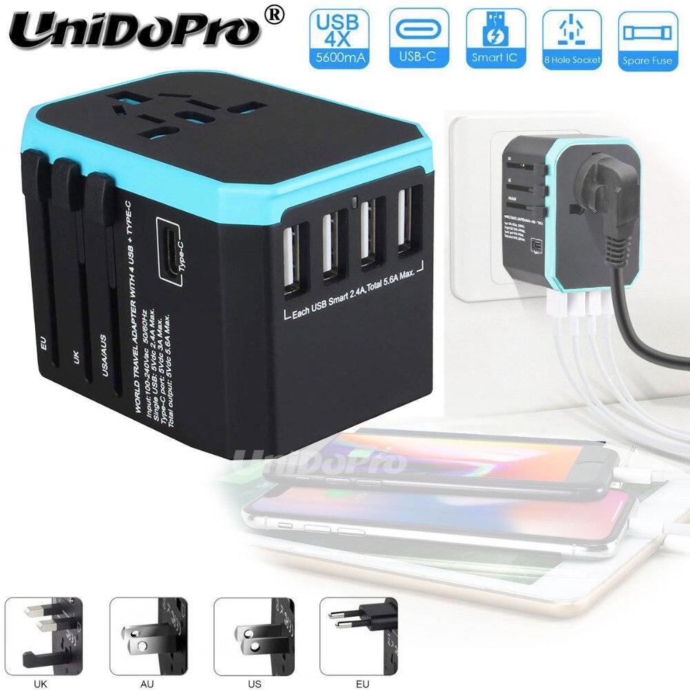 Universal Travel Power Adapter, weltweit Elektrische Stecker Steckdosen AC Ladegerät mit 4x USB + 1x Typ-C Ports für UNS USA EU UK AUS