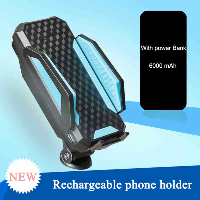 Bicycle Phone Holder & Charger Handlebar Clip Stand With Power Bank for iPhone Samsung Phone Case Rack on Cycling Bike