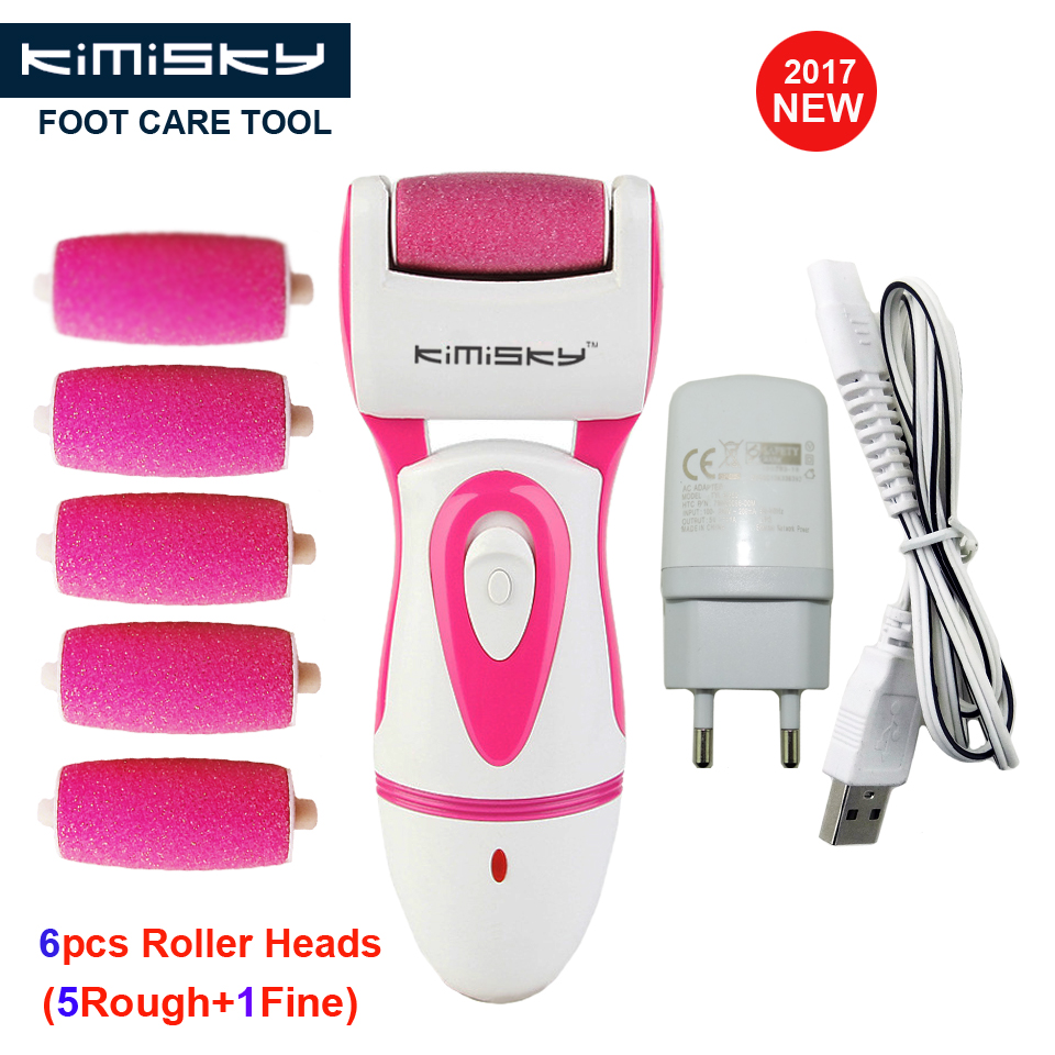 RED 2017 RECHARGEABLE Pedicure Electric Tools Foot Care Exfoliating Foot Care Tool 6pcs Scholls Roller Pedicure Heads  KIMISKY
