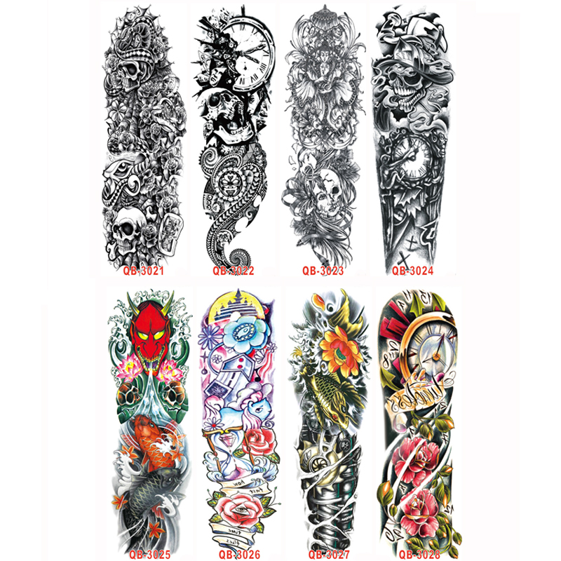buy 3pc temporary tattoo sleeve designs full arm waterproof tattoos for cool. Black Bedroom Furniture Sets. Home Design Ideas