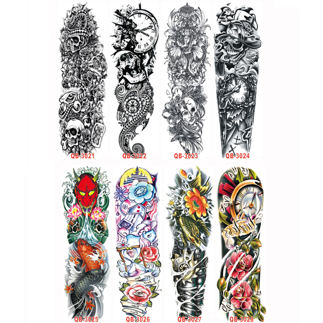 3pc temporary tattoo sleeve designs full arm waterproof tattoos for cool men women transferable. Black Bedroom Furniture Sets. Home Design Ideas