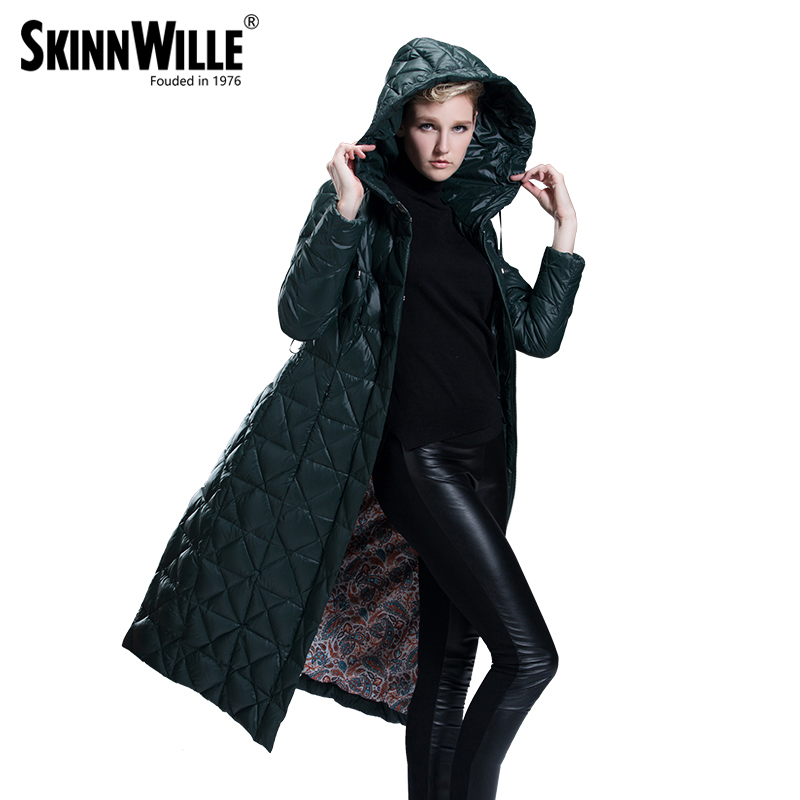 skinnwille 2017 long plus size plus size down coat thickening female plus size ultra long over-the-knee winter
