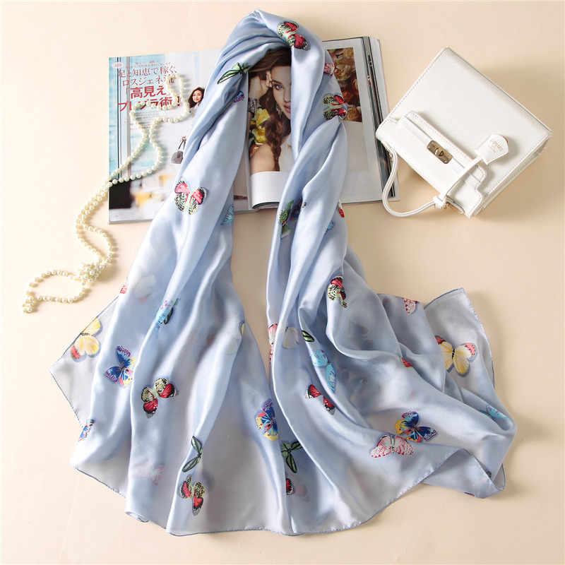 2017 di marca di lusso donne di estate sciarpa calda di qualità morbido sciarpe di seta femminile scialli Foulard Spiaggia cover-ups involucri di seta bandana