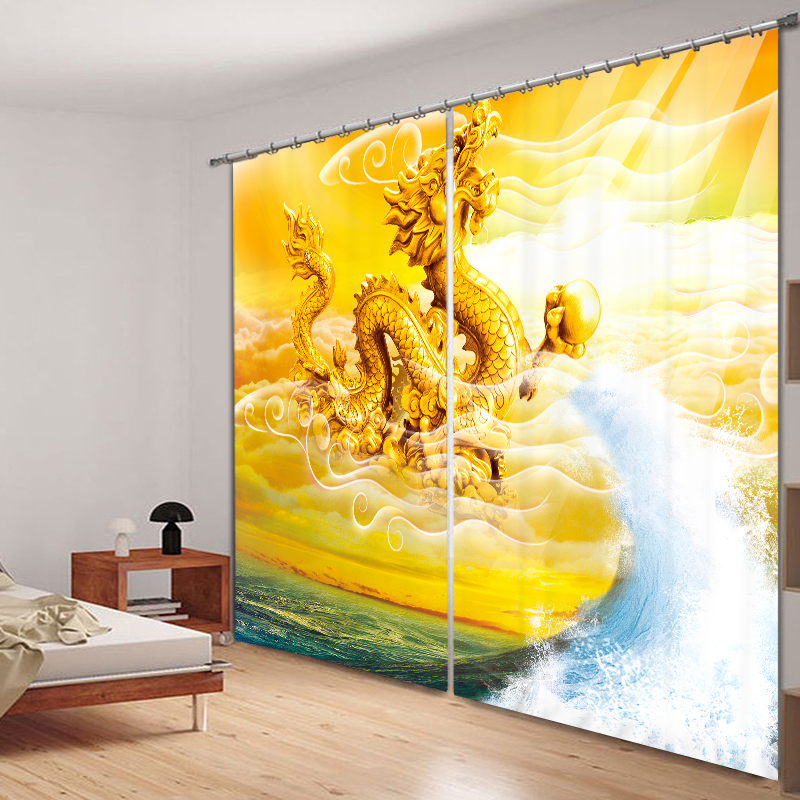 Style chinois Dragon cheval Phoenix poisson 3D peinture rideaux occultants bureau literie chambre salon parasol fenêtre rideau