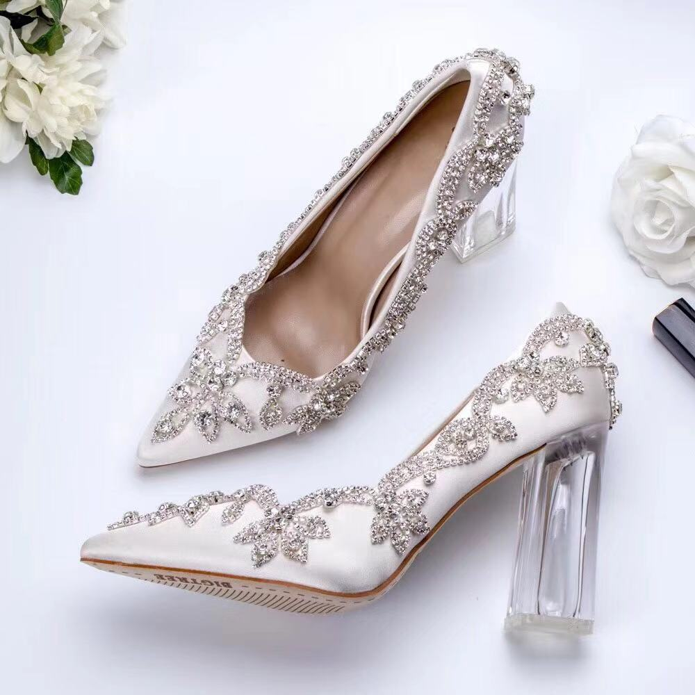 Luxury Wedding Shoes Bride Clear Crystal Heels 10cm Square