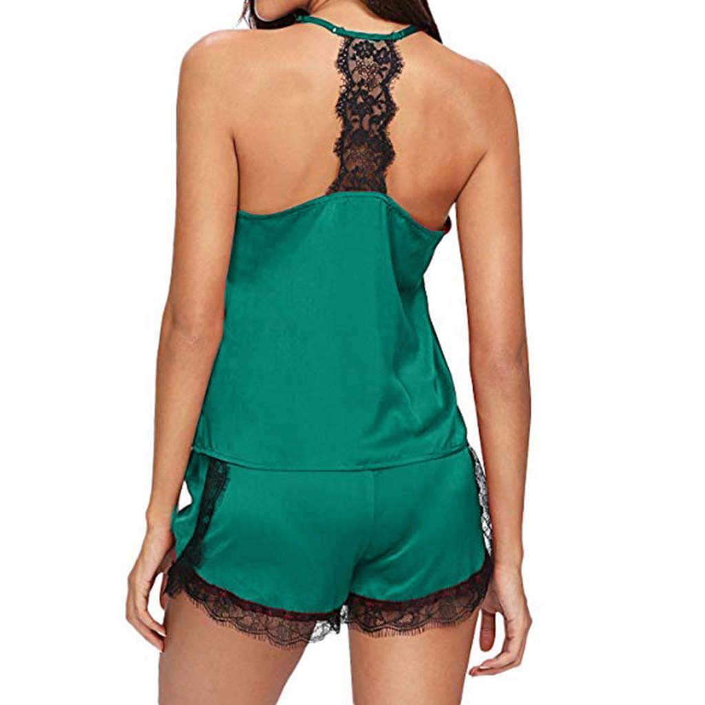 נשים של הלבשת סקסית סאטן פיג 'מה סט שחור תחרה V-צוואר שרוולים Cami למעלה ומכנסיים קצרים
