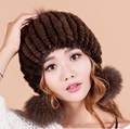 2016 new arrivals mulher inverno gorro de pele de vison pele de raposa bola cap de espessura suave senhora chapéu gorros chapelaria