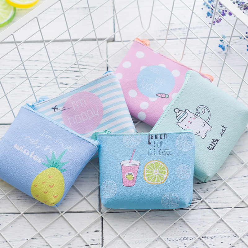 Verão carteira de couro do plutônio imagem animal gato pequena bolsa feminina zíper das crianças bolsa de moedas carteira de alta qualidade marca feminina
