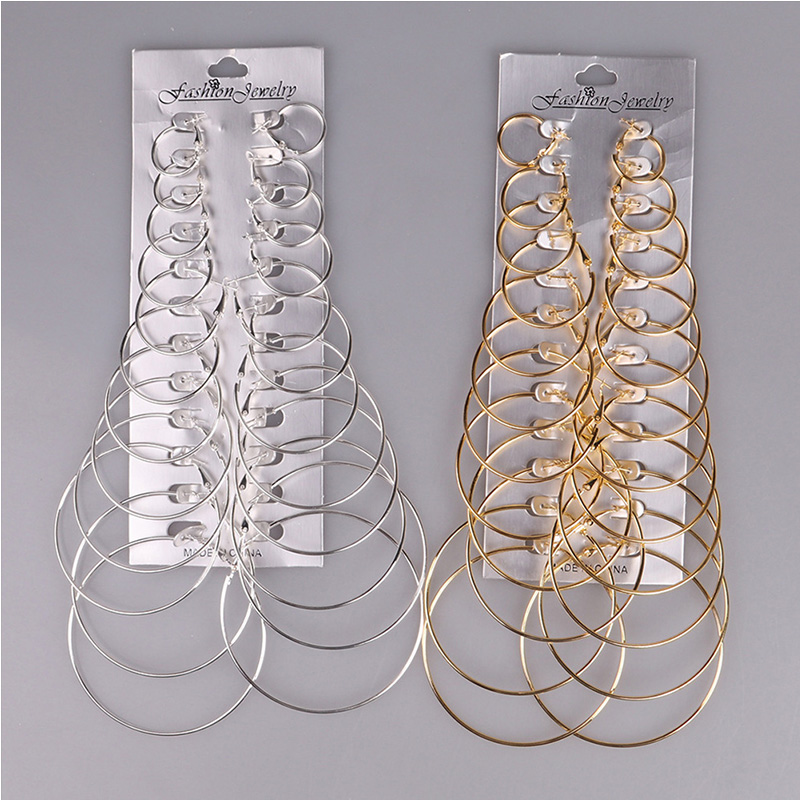 Big Circle Set Fashion Hiphop Gold&Silver Color Earrings For Cool Girl Earrings Oorbellen Jewelry Dendientes