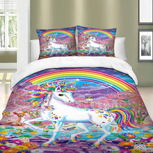 Unicorn Bedding Set Rainbow Duvet Cover Pillow Cases Twin Full Queen King UK Double AU Single Size Cartoon Bedclothes