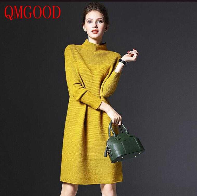 a969f9a86f3 Qmgood шерсть смешивается простые зимние платья вязаная одежда с длинным  рукавом Однотонный свитер платье для элегантной