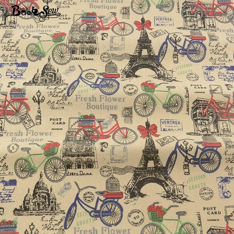 Текстиль с принтом Эйфелевой башни, хлопчатобумажная льняная ткань для шитья в Париже, материал для сумок, скатерть, занавеска, подушка