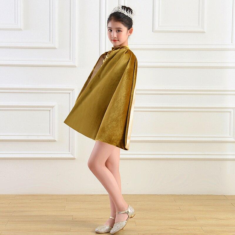 Enfants fille Costum dubaï Abaya Robe de soirée Festa dos nu Fiesta Velours Capes Robe de soirée élégante 2019 Abendkleider Robe Velours - 4