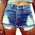 Retro Cintura Alta Shorts Mulheres 2016 Estilo Verão Rasgado Denim Shorts Jeans Buraco Sexy Short Feminino Plus Size Mulheres Hotpants legal
