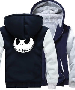 Image 5 - Jack Skellington Evil Face Print Hip Hop Streetwear Hoody 2018 Winter Thick Hoodies For Men Harajuku Zipper Jacket Sweatshirt