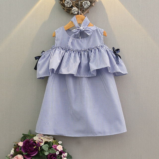 Mädchen Rüschen Schulterfrei Kleid Gestreiften Meer Blau Kleid Mode ...