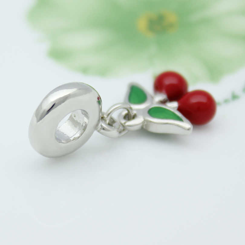 ba191ab34 ... Cherry pendant charm beads red & green enamel amulet original brand  jewelry design Fit Pandora Bracelet ...