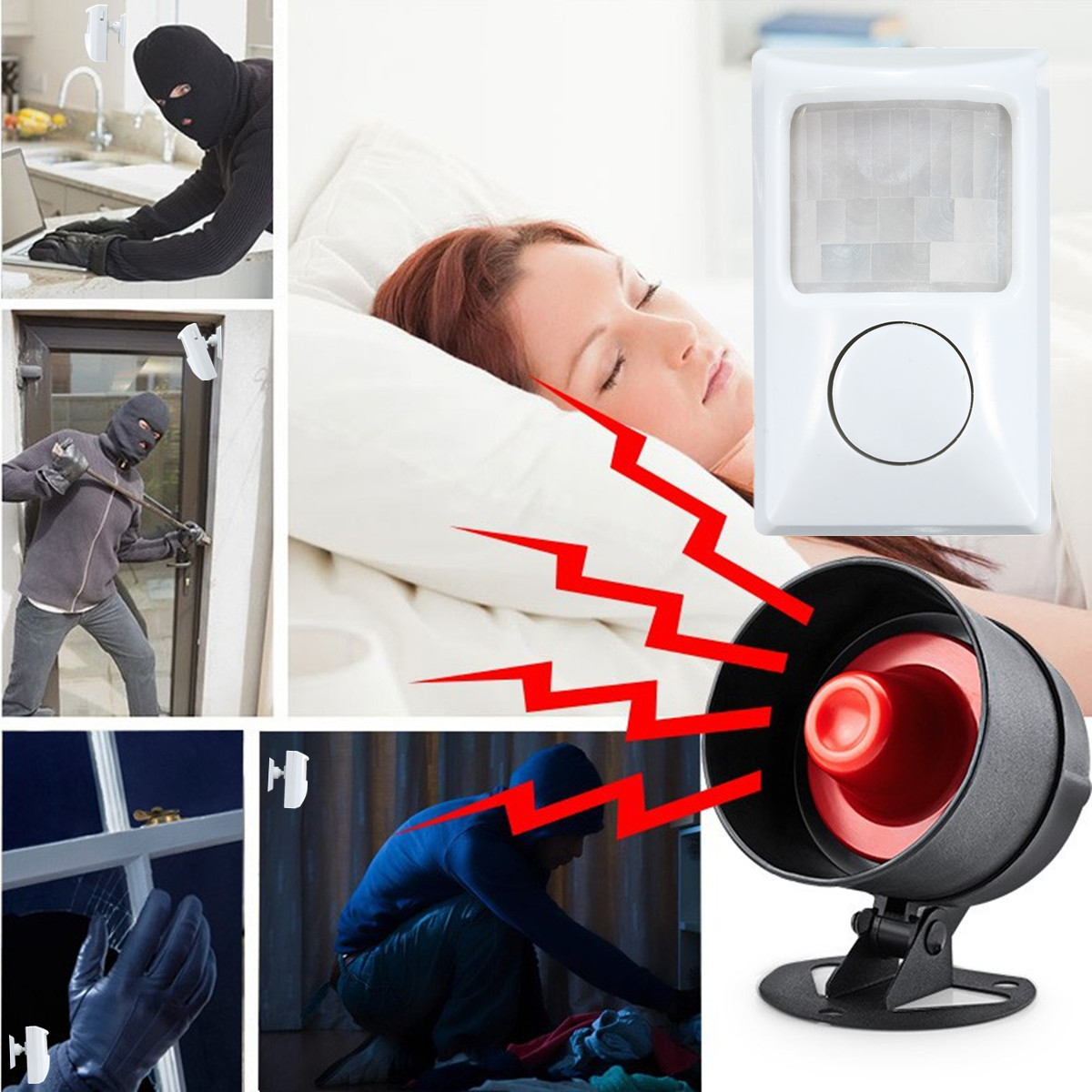 90dB Security Burglar Alarm System Infrared Motion Sensor Detector PIR Alarm Home Shed Garage For Home Security