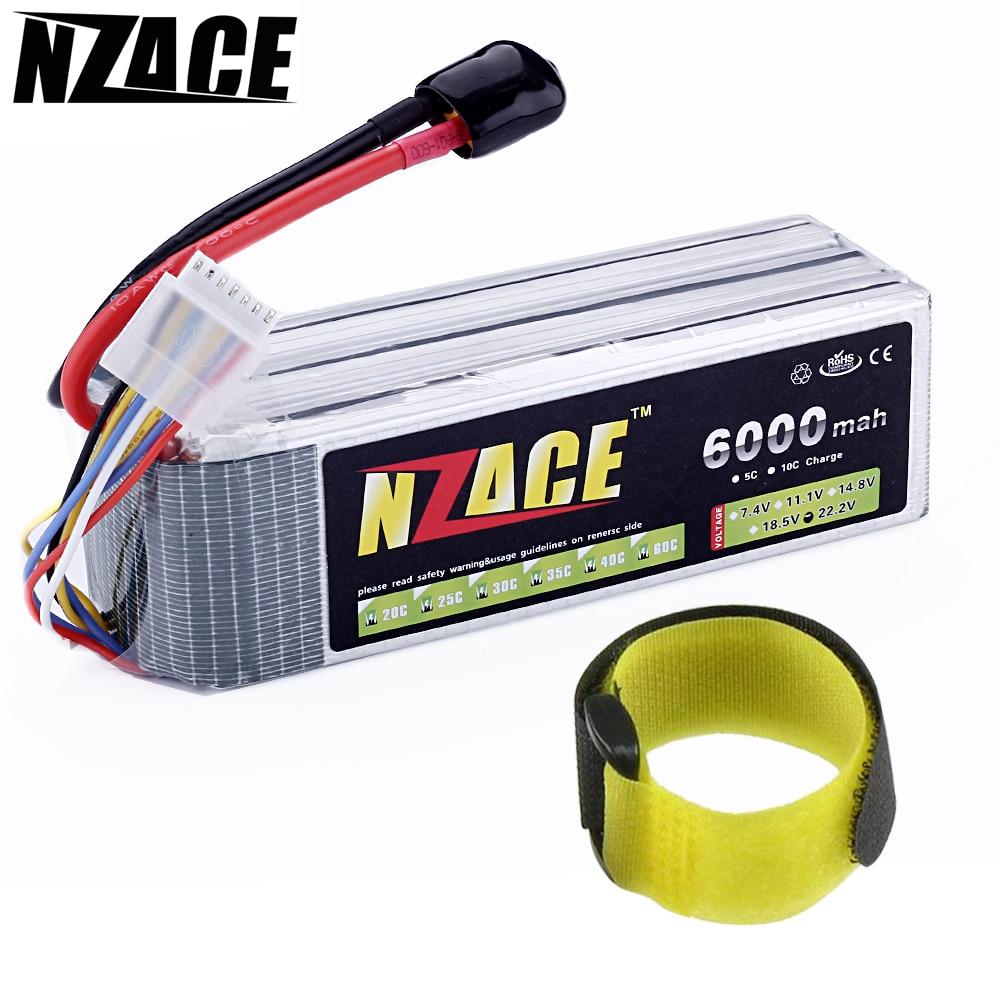 NZACE POWER 6S Lipo סוללה 22.2v 6000mah 60c RC RC מסוק RC RC - שלט רחוק צעצועים
