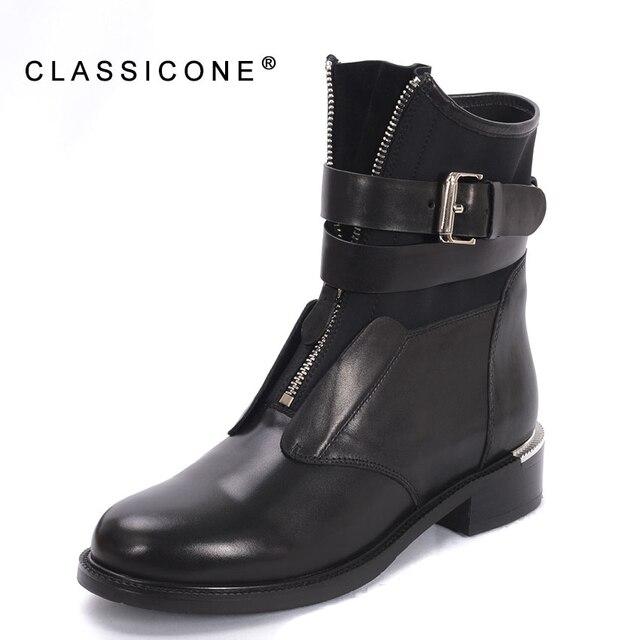 CLASSICONE 2018 весна осень новые женские ботинки женская обувь натуральная кожа молния впереди застежка пряжка мода стиль сексуальность черный цвет бренд женские сапоги без меха стильные полусапожки