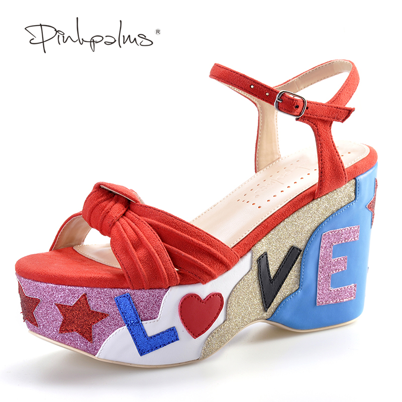 Pink Palms summer new arrival cross strap letters glitter wedge red color high heels casual sandals