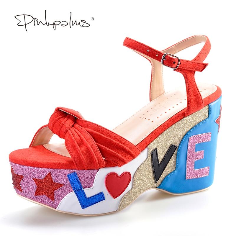 Pink Palms estate nuovo arrivo croce tracolla glitter sandali con tacco alto colore rosso con tacco alto