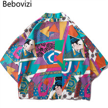 Bebovizi Japanese Ukiyo E Full Printed Kimono Jackets 2019 Mens Harajuku Streetwear Japan Style Jacket Coat Hip Hop Thin Robe