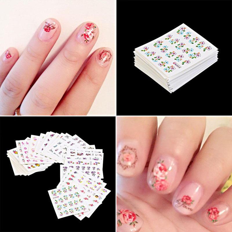 50 sheet Nail Sticker Flowers Designs Nail Art Water Transfer Stickers Watermark Decals Manicure Foils Decor Nail Tools fwc watermark nail stickers christmas nail art water transfer sticker decals manicure wraps decor 2148