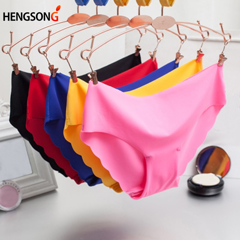 New Summer Women's Panties Ice Briefs Silk Cool And Intimates Seamless Wave Underwear Low Rise Candy Color Female Briefs 701149