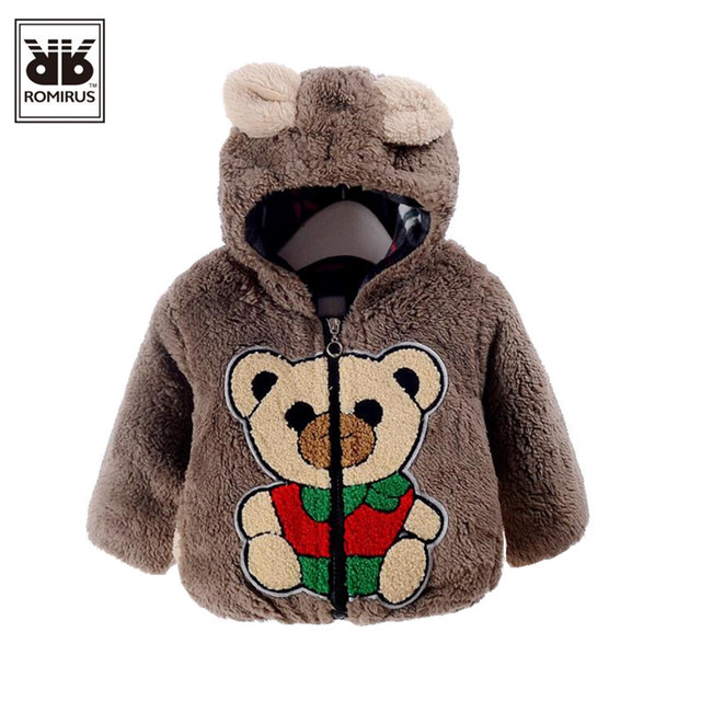 ROMIRUS Baby Boy Coat Jackets New Fashion Boys Style  Bear kids Clothes Winter Thick Tops Children Outerwear Casaco Infantil