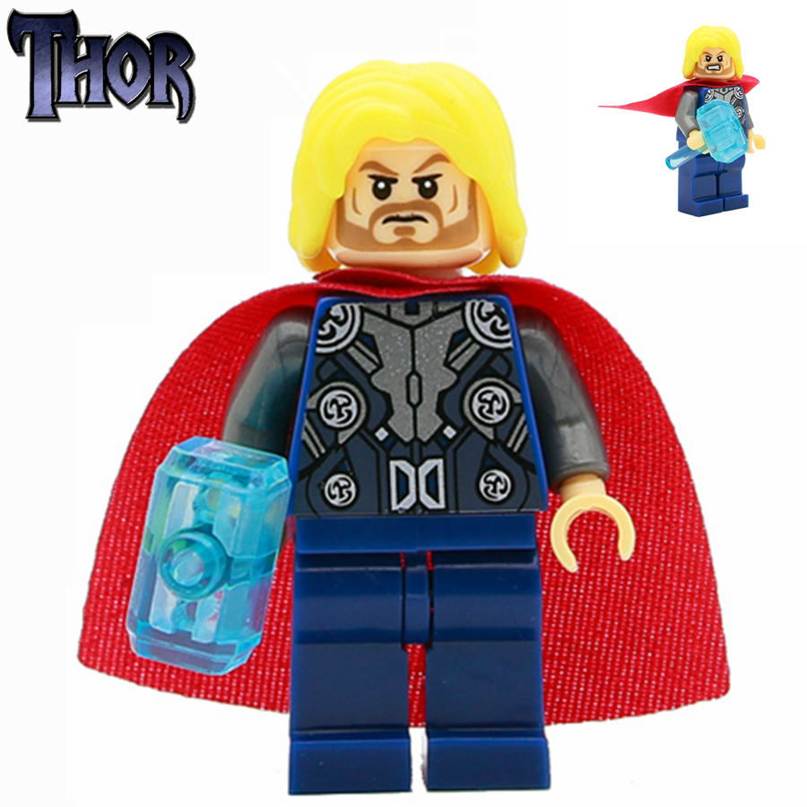 SingleSale Thor Odinson with crystal hammer Loki minifig Marvel Super Heroes Avengers Assemble Model Building Blocks Toys Gift marvel super heroes avengers wonda iron man mk anti hulkbuster thor vision ultron assemble building blocks minifig kids toys
