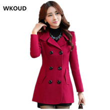 72f513bcfbee5 Wkoud المرأة معاطف الشتاء خندق معطف الأزياء الصلبة مزدوجة الصدر معطف الصوف  بدوره أسفل الياقة سليم