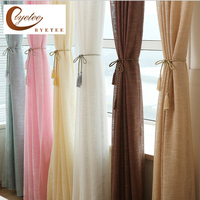 [Byetee] Gauze Curtain Bedroom Living Room Blackout Curtain Window Cotton Linen Tulle Organza Voile Curtains Doors For Drapes