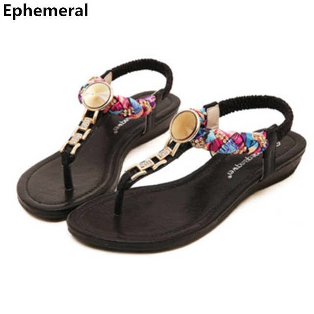 9a7420861844 Ladies Gladiator Rhinestone Floral Top selling Elastic band School Girls Flats  Sandals Casual Beach Shoes Thongs