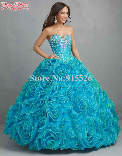 ed56fd68d63 Royal Blue Quinceanera Dresses Appliques Beading Crystal Sweetheart Tiered  Ruffles Floor-Length Vestidos Free Shipping