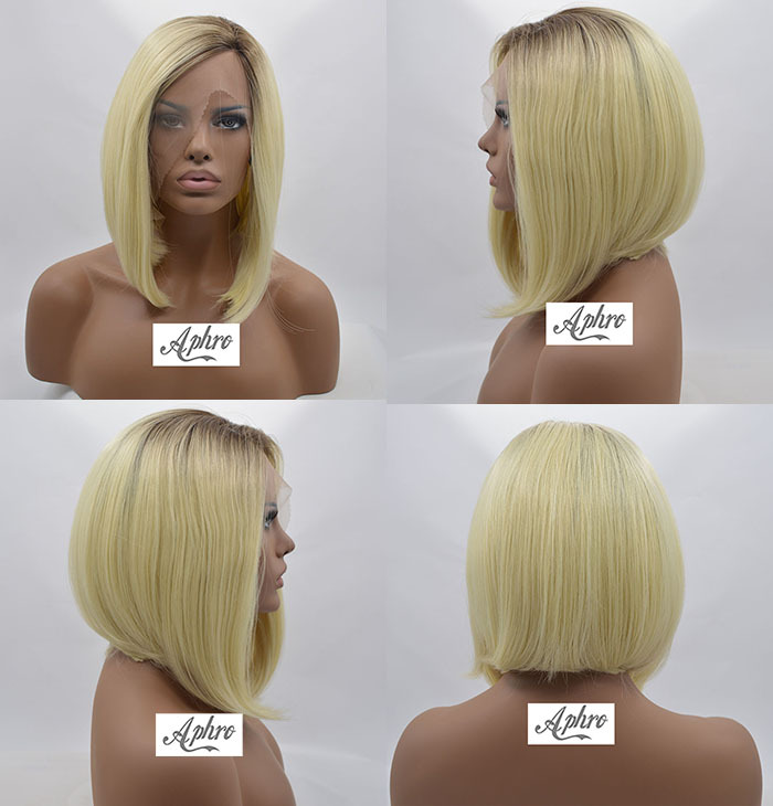Short Bob Blonde Synthetic Front Lace Wig Women heat Resistant 150% Density 10 inches Dark Roots Full Wigs - Aphro Beauty Hair Shop No.1 store