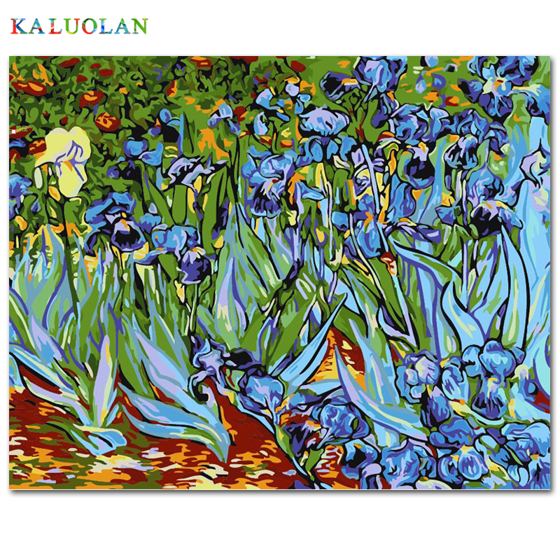 Sans cadre image sur le mur acrylique peinture par numéros bricolage toile peinture art cadeau De Noël coloration par des numéros Abstrait iris