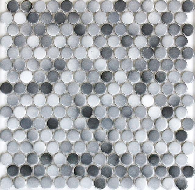 Gris couleur 19mm rond mat en céramique mosaïque salle de bain ...