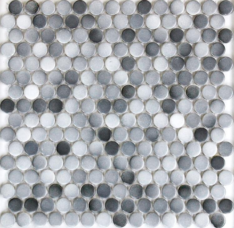 gray color 19mm round matt ceramic mosaic bathroom shower floor wall tiles in mosaic kitchen backsplash