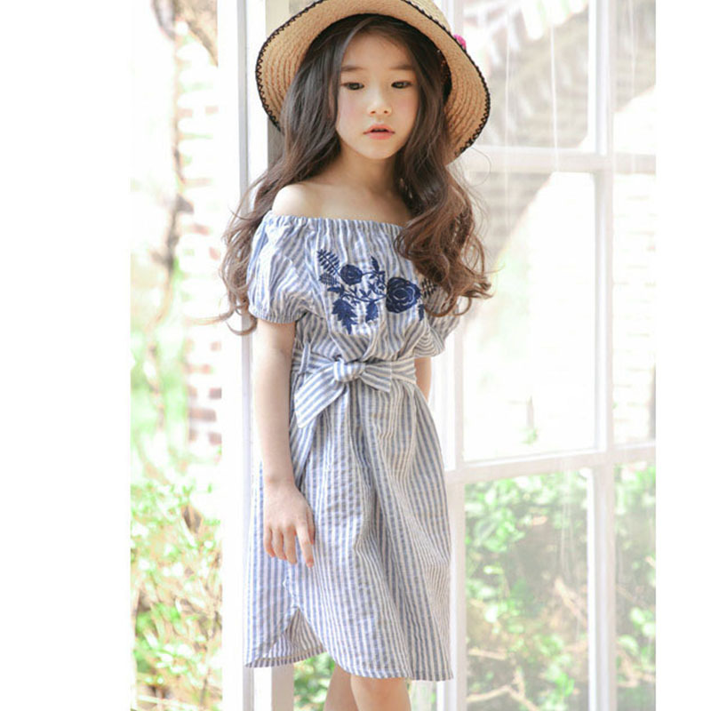 8f7e166528 Girls Floral Embroidered Dresses 2018 Summer Baby Off Shoulder Dress Kids  Clothes Stripe Little Teenage Big