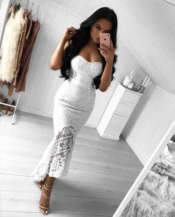 Femmes robe blanc d'été club bar partie sexy femmes longue dentelle robe gaine célébrité bandage longue robe pour robe de soirée blanche Q20